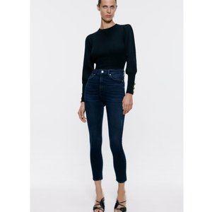 Zara Premium Electric Dark Blue Black Skinny Jeans
